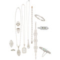 Estate Jewelry:Lots, Art Deco Diamond, Synthetic Stone, White Gold Jewelry. ... (Total: 12 Items)