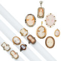 Estate Jewelry:Lots, Hardstone, Shell Cameo, Gold Jewelry . ... (Total: 12 Items)