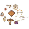 Estate Jewelry:Brooches - Pins, Diamond, Multi-Stone, Gold, Yellow Metal Brooches. ... (Total: 10Items)
