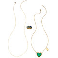 Estate Jewelry:Lots, Chrysoprase, Enamel, Gold Jewelry. ... (Total: 3 Items)