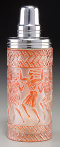 Art Glass:Lalique, R. Lalique Frosted Glass and Red Enameled DanseusesEgyptiennes Perfume Burner for Marcas et Bardel. Circa 1926....