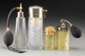 Art Glass:Lalique, Four R. Lalique Glass Atomizers with Patinas. Circa 1924-1926.Molded R. LALIQUE, MADE IN FRANCE. M p. 961. No. MARCUS ET ...(Total: 4 Items)