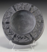 R. Lalique Opaque Black Glass Archers Ashtray Circa 1922. Molded R. LALIQUE <