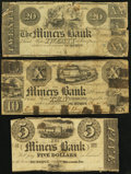 Obsoletes By State:Iowa, IA - Lot of 3 Miners Bank, Dubuque Rarities.. ... (Total: 3 notes)