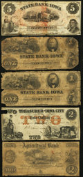 Obsoletes By State:Iowa, IA - Lot of 5 Iowa Unusual and Scarce Iowa Notes. . ... (Total: 5notes)