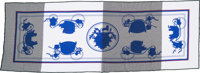 "Hermes Gray, Blue & White ""Ex Libris,"" by Hugo Grygkar Cotton Jersey Stole Scarf Pristine Condition"