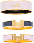 "Luxury Accessories:Accessories, Hermes Set of Three; Pink & Navy Blue Enamel Bracelets withGold Hardware. Excellent to Pristine Condition. 0.5""Width... (Total: 3 Items)"