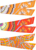 "Luxury Accessories:Accessories, Hermes Set of Three; Orange & Red Silk Max Twilly Scarves. Pristine Condition. 8"" Width x 87"" Length. 8"" Width x 8... (Total: 3 Items)"