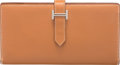"""Luxury Accessories:Accessories, Hermes Gold Epsom Leather Bearn Wallet with Palladium Hardware. O Square, 2011. Very Good Condition. 7"""" Width x 3...."""