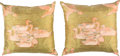 "Luxury Accessories:Home, Hermes Set of Two; Green, Pink & Gold Silk Pillows. PristineCondition. 20"" Width x 20"" Length. 20"" Width x 20""Le... (Total: 2 Items)"