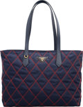 "Luxury Accessories:Bags, Prada Navy Blue Quilted Nylon Tote Bag. Excellent Condition. 14""Width x 10"" Height x 6"" Depth. ..."