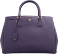 "Luxury Accessories:Bags, Prada Purple Saffiano Leather Lux Tote Bag. ExcellentCondition. 14.5"" Width x 10.5"" Height x 7"" Depth. ..."