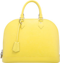 "Louis Vuitton Pistache Yellow Epi Leather Alma GM Bag Excellent Condition 14"" Width x 10.5"" Height x 6.5""..."