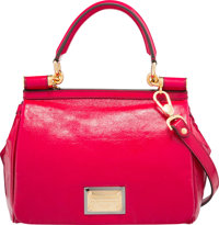 "Dolce & Gabbana Pink Patent Leather Miss Sicily Bag Very Good to Excellent Condition 11"" Width x"
