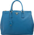 "Luxury Accessories:Bags, Prada Blue Saffiano Leather Lux Tote Bag. Very Good to ExcellentCondition. 14"" Width x 10"" Height x 5.5"" Depth. ..."