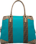 "Luxury Accessories:Bags, Fendi Turquoise Classic Monogram Zucca Canvas Tote Bag. VeryGood Condition. 15"" Width x 13"" Height x 5"" Depth. ..."