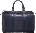"Luxury Accessories:Bags, Gucci Navy Blue Imprime Leather Boston Bag. ExcellentCondition. 13"" Width x 9"" Height x 7"" Depth. ..."