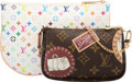 Luxury Accessories:Bags, Louis Vuitton Set of Two; White Multicolore Monogram & ClassicMonogram Stamp Canvas Clutch Bags. Excellent Condition. 8.5...(Total: 2 Items)