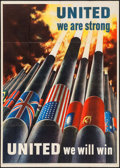"Movie Posters:War, World War II Propaganda (U.S. Government Printing Office, 1943).OWI Poster No. 64 (28.5"" X 40"") ""United We Are Strong."" War..."