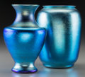 Art Glass:Tiffany , Tiffany Studios Blue Favrile Glass Vase with Durand Blue IridescentGlass Vase. Circa 1919 and later. Engraved L.C.Tiffany...(Total: 2 Items)