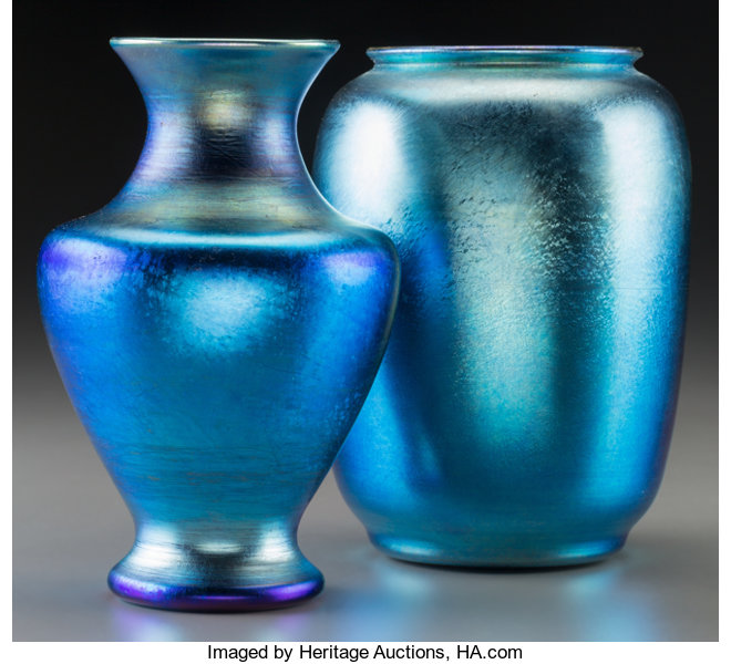 Tiffany Studios Blue Favrile Glass Vase With Durand Blue Lot