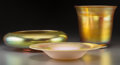 Art Glass:Steuben, Two Steuben Gold Aurene Glass Bowls and Vase . Circa 1915. Marks: Steuben; AURENE, 2897. Ht. 6-3/4 in. (tallest). ... (Total: 3 Items)