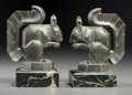 Bronze:European, Pair of Max Le Verrier Bronzed Squirrel Bookends. Circa 1930.Marks: M Le Verrier, MADE IN FRANCE. Ht. 6 in.. ... (Total:2 Items)