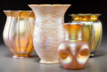 Art Glass:Other , Three Quezal Gold and Iridescent Glass Articles with Steuben Gold Aurene Glass Vase. Circa 1900-1920. Engraved: Quezal; ... (Total: 4 Items)