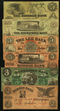 Obsoletes By State:Massachusetts, MA- Lot of 6 Color-Tinted Spurious and Counterfeit Types.. ... (Total: 6 notes)
