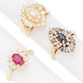 Estate Jewelry:Rings, Diamond, Multi-Stone, Gold Rings. ... (Total: 3 Items)
