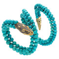Estate Jewelry:Bracelets, Turquoise, Sapphire, Diamond, Gold Bracelet. ...