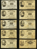 Obsoletes By State:Massachusetts, MA- Lot of 10 L. Prang & Co. Imprint Civil War Scrip. . ...(Total: 10 notes)