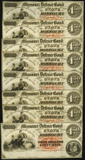 Obsoletes By State:Missouri, MO- Lot of 14 State of Missouri (Jefferson City) $4.50 Defence Bond Remainder Scrip Notes. . ... (Total: 14 notes)