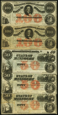 """MO- Lot of 5 State of Missouri (Jefferson City) Higher Denomination """"Requisitions for"""" Defence Bond Remainder..."""