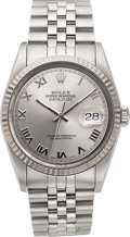 Timepieces:Wristwatch, Rolex Datejust Stainless Steel Oyster Perpetual Gent's Wristwatch Ref. 16234. ...