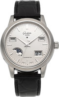 Timepieces:Wristwatch, Glashutte Original Senator Perpetual Calendar With Moonphase Stainless Steel Wristwatch. ...