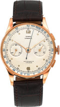 Timepieces:Wristwatch, Olympic 18K Pink Gold Vintage Chronograph Wristwatch. ...
