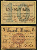 Obsoletes By State:New Hampshire, NH - Lot of 2 Rare New Hampshire Civil War Period Private Scrip. . ... (Total: 2 notes)