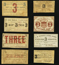 Obsoletes By State:New Hampshire, NH - Lot of 8 New Hampshire Civil War Period 3 Cents Scrip Notes. . ... (Total: 8 notes)