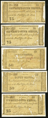 """MO- Lot of 5 A.T. Crane Post Master, """"at the Post Office, St, Louis"""" 1817 Period Scrip Notes"""