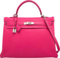 Luxury Accessories:Bags, Hermes Limited Edition Candy Collection 35cm Rose Tyrien &Rubis Epsom Leather Retourne Kelly Bag with Palladium Hardware. ...