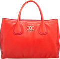 "Luxury Accessories:Bags, Chanel Red Lambskin Leather Tote Bag. Very Good Condition.16"" Width x 11.5"" Height x 5.5"" Depth. ..."