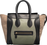 Celine Green & Black Leather and Beige Suede Mini Luggage Tote Bag Good to Very Good Condition 12