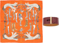 Luxury Accessories:Accessories, Hermes Set of Two; Rouge H Tadelakt Leather Hydra PM Bracelet & 40cm Orange Silk Pochette Scarf. R Square, 2014. Prist... (Total: 2 Items)