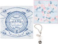 "Chanel Set of Three; Silk Scarf, Silk Pochette Scarf & Silver Charm Pristine Condition 22.5"" Widt"