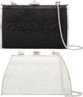 "Luxury Accessories:Bags, Judith Leiber Set of Two; Full Bead Black & Silver CrystalMinaudiere Evening Bags. Excellent Condition. 5"" Width x3""... (Total: 2 Items)"