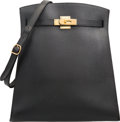 """Luxury Accessories:Bags, Hermes 31cm Black Ardennes Leather Kelly Sport Bag with Gold Hardware. V Circle, 1992. Very Good Condition. 11.5"""" ..."""