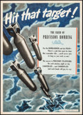 "Movie Posters:War, World War II Propaganda (U.S. Government Printing Office, 1942).Poster (18"" X 28""). ""Hit That Target."" War.. ..."