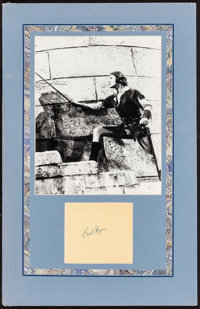"""Errol Flynn (Warner Brothers, 1940s). Autographed Matted Card with Repro Photo (8.5"""" X 11""""). Miscellaneous..."""