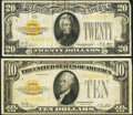 Small Size:Gold Certificates, United States Small Size Currency - Lot of 2 1928 Gold Certificates.. ... (Total: 2 notes)